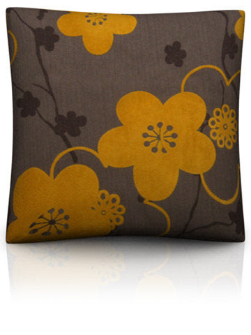 Velvet Flowers — Brown Orange Decorative Pillow Covers and Throws ...