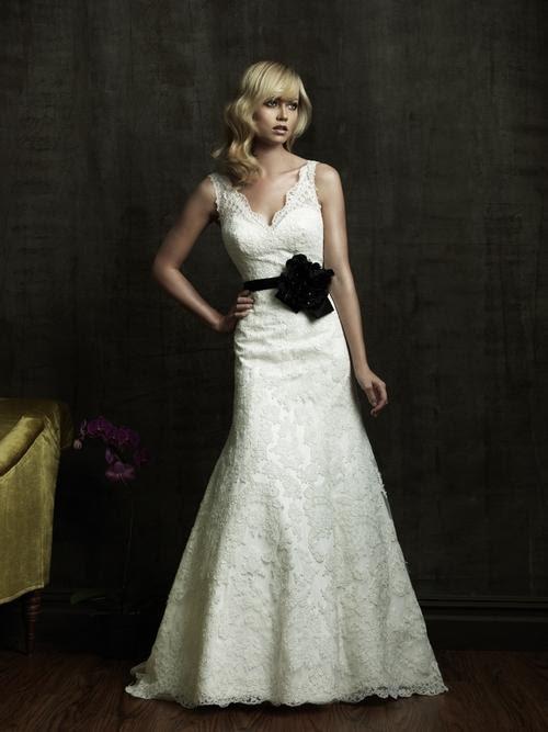 Ivory lace vneck 2011 wedding dress with black bridal belt embellished with