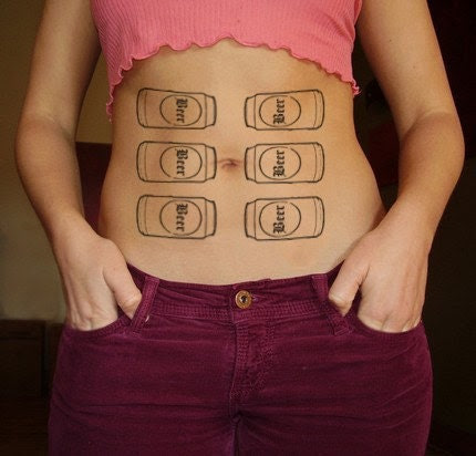 The hilarious Six Pack temporary Tattoo from Temptuous Tatts :