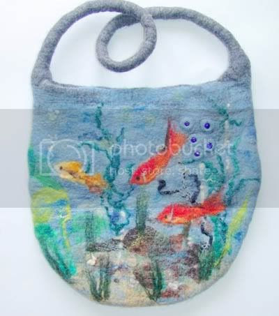 Summer felted fish bag by Galafilc