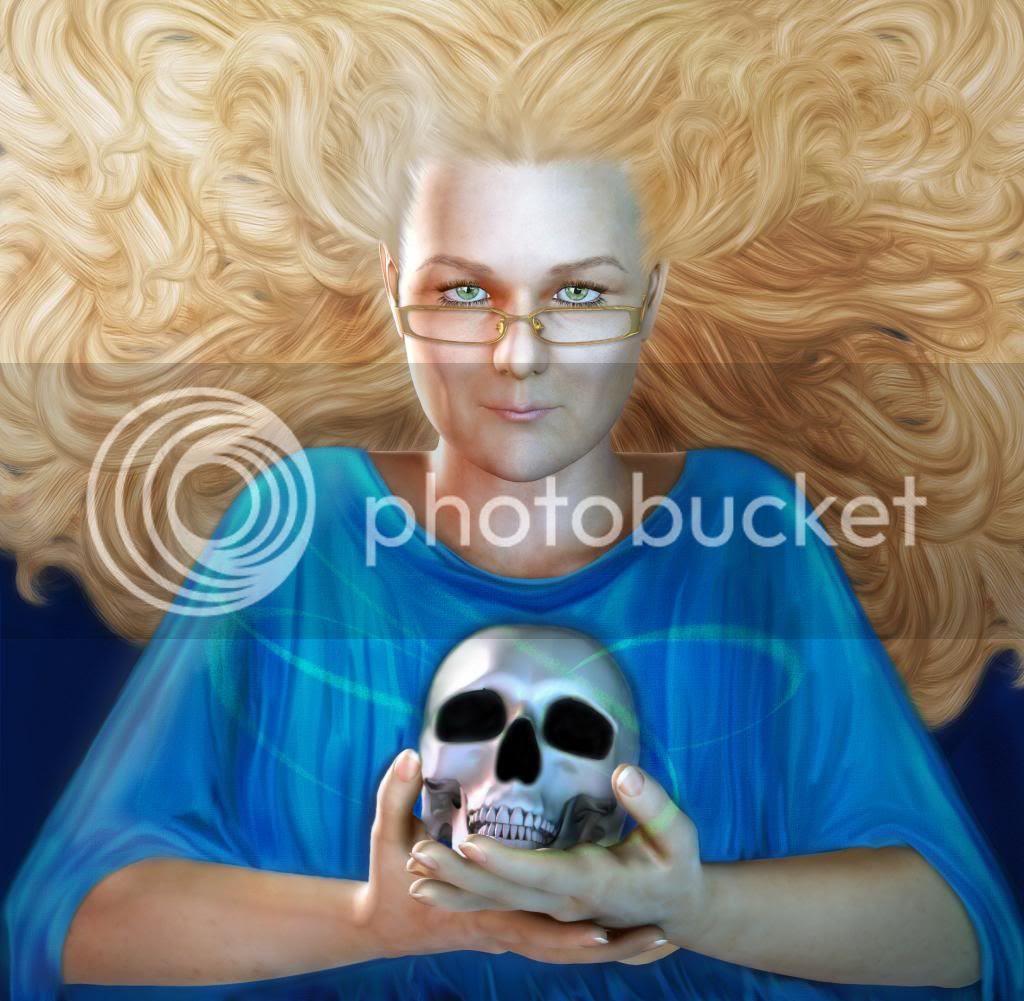 Author Storm Dancer photo RayneHallWithSkullAndHairbyFawnheart.jpg