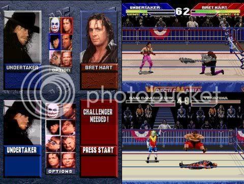 WWF Wrestlemania: The Arcade Game - Melhor versão da era 16 bits! Mega drive leva vantagem por ter mais lutadores.