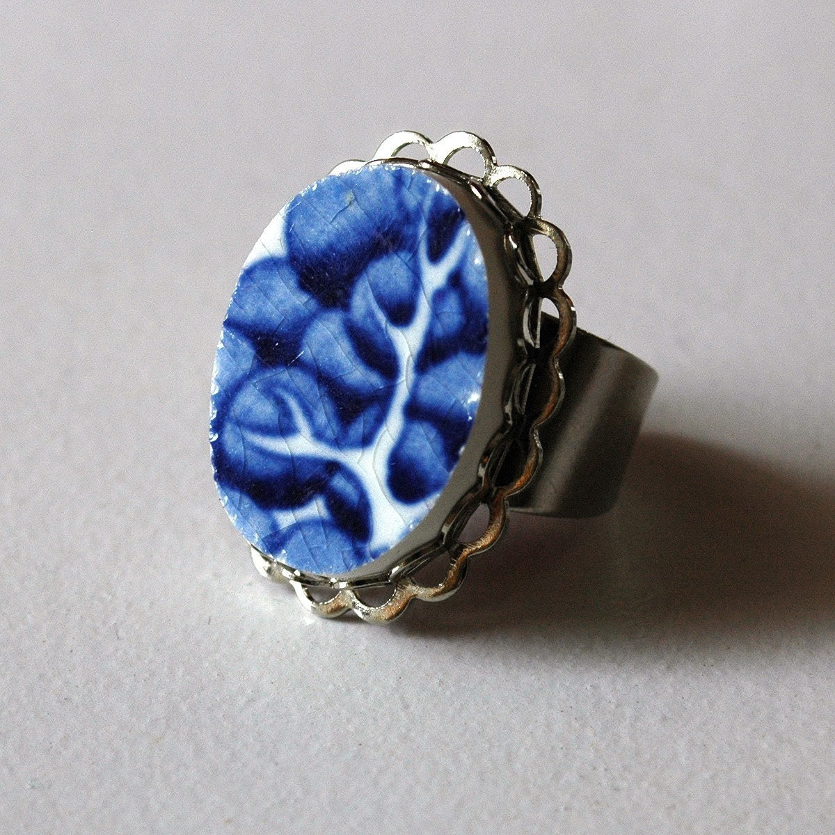 Blue and White Tree Broken Plate Ring