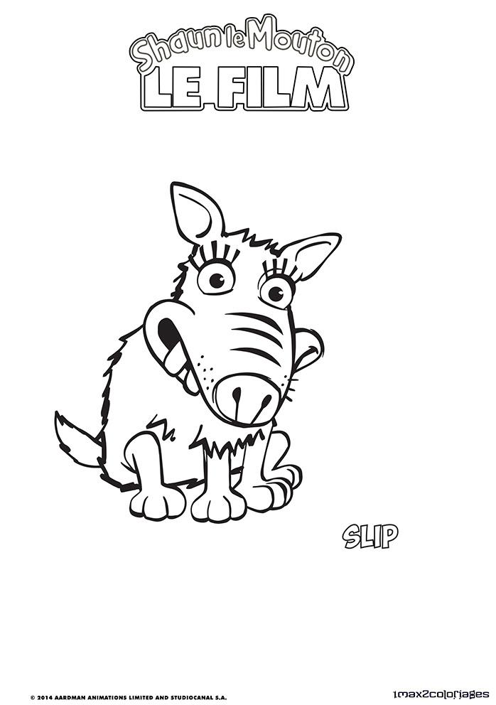 Coloriage Des Personnages Du Film Shaun Le Mouton La Chienne Slip A