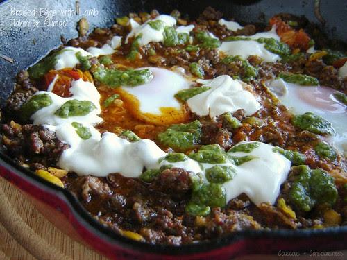 Braised Eggs with Lamb, Tahini & Sumac 1