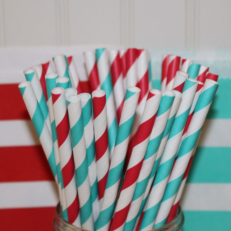 Dr. Seuss Party Paper Straws, ( 30 ct. ) Red Striped  and Blue Striped Paper Drinking Straws with DIY Flags