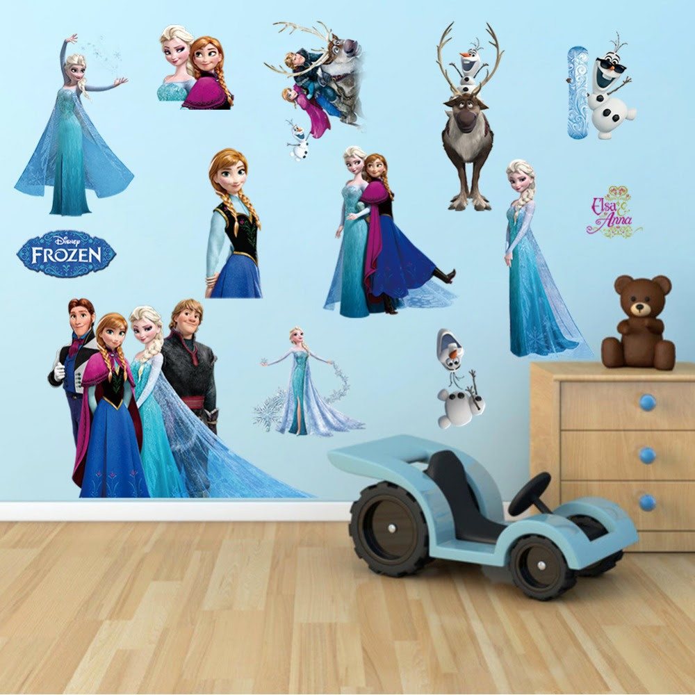 Wall Sticker 3D Frozen Minion Masha Sofia Hello Kitty Doraemon