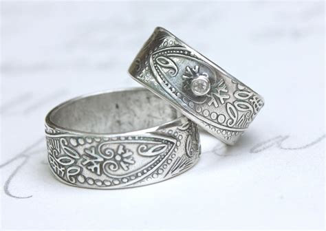 bohemian wedding band ring set with white sapphire . wide