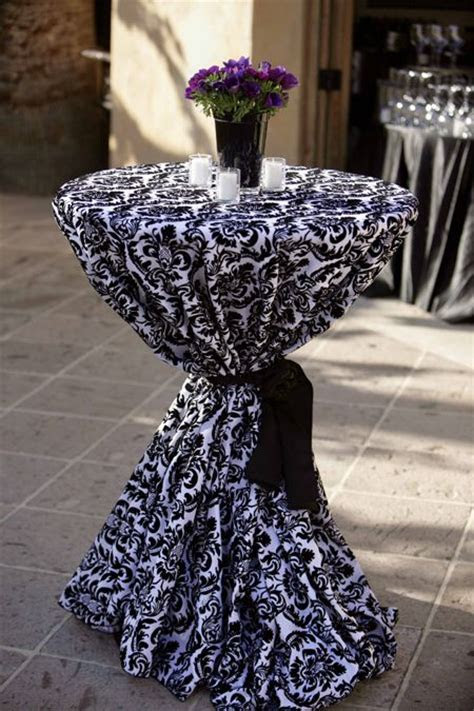#cocktail #table #decor black and white linens for
