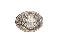 Rhinestone Cross Silver Buckle