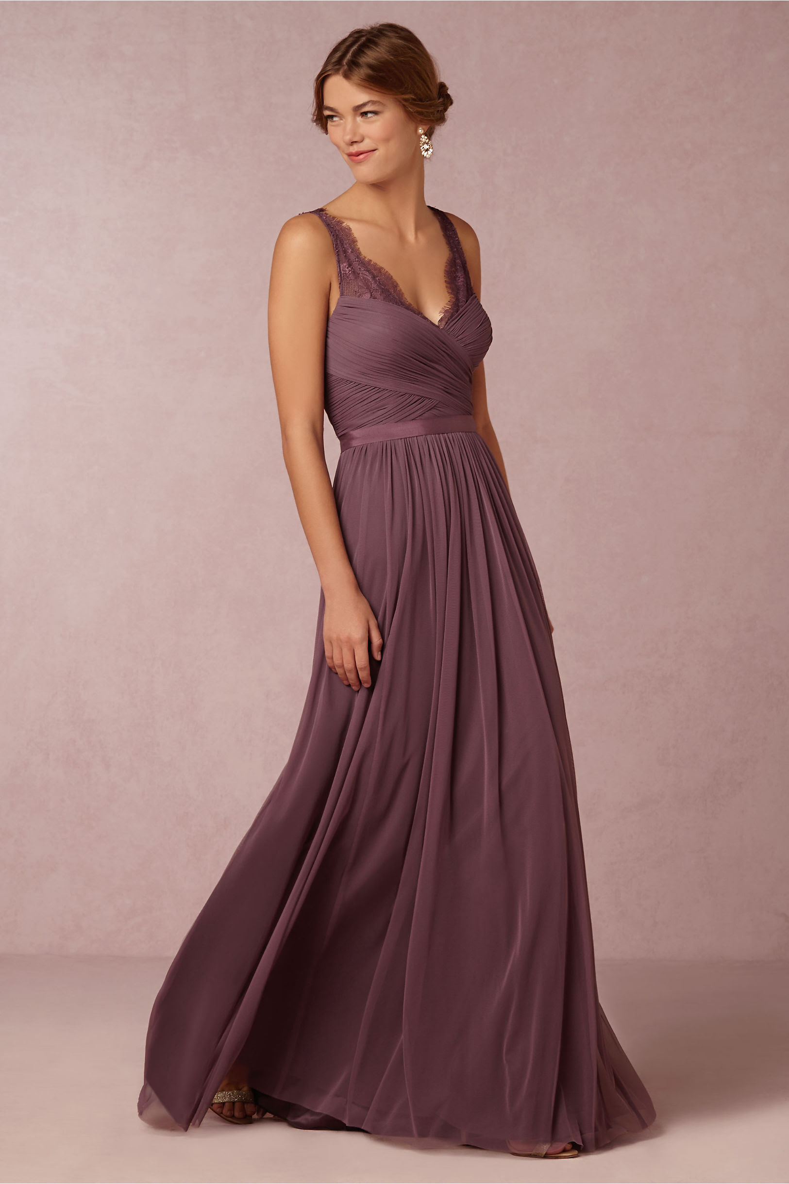 Vintage Lace Straps Pleated Long Chiffon Eggplant Bridesmaid Dress _2