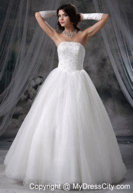 Cheap Simple Beaded Strapless Tulle A line 2013 Garden