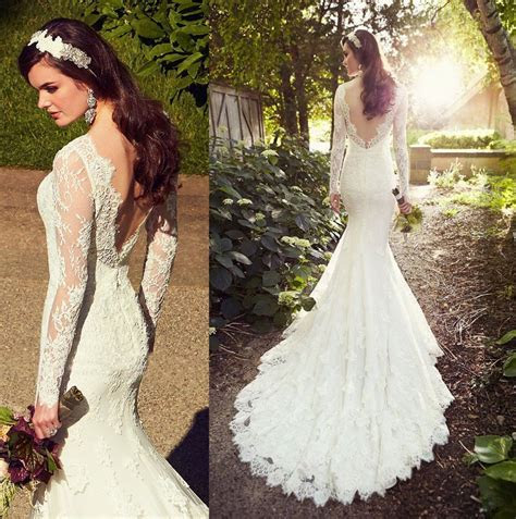 White Wedding Dresses,Long Sleeves Wedding Gown,Lace