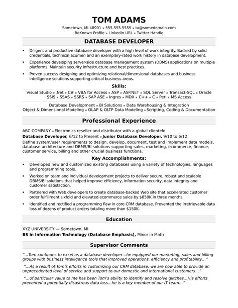 Oracle Database Developer Resume Sample On Database