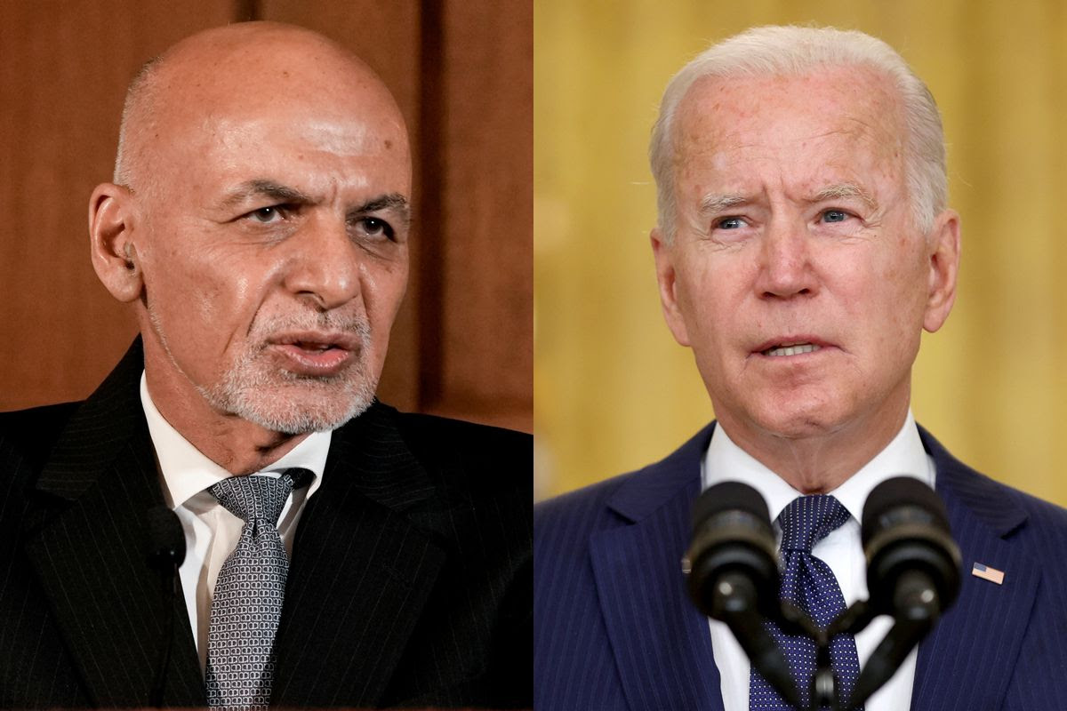 Afghanistan's President Ashraf Ghani (L) and U.S. President Joe Biden are seen in this combination photo.