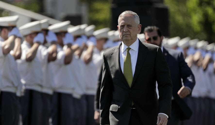 Secretary of Defense James Mattis walks into Michie Stadium to give the commencement address, Saturday, May 27, 2017, in West Point, N.Y. Nine Hundred and thirty six cadets received their diplomas, most of whom will be commissioned as second lieutenants in the army. (AP Photo/Julie Jacobson) **FILE**