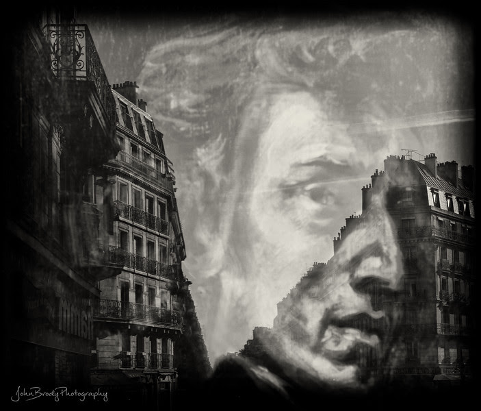 Glass Cover on Art Gallery Chopin Painting Reflected Paris Street and Archtecture - JohnBrody.com - JohnBrody.blogspot.com