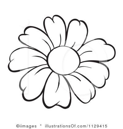 Flower Outline Flower Clip Art Black And White