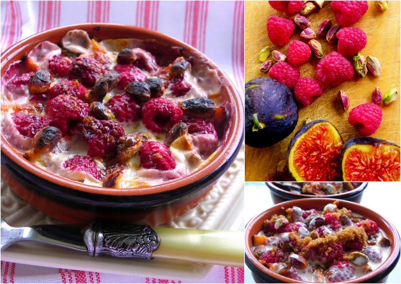 Fig, Raspberry and Pistachio Gratin
