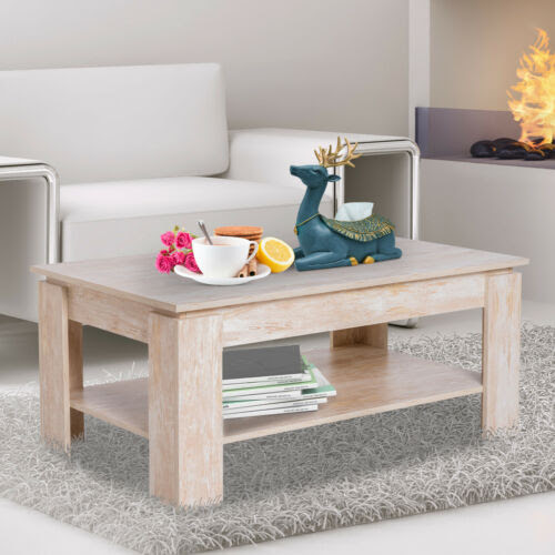 Homcom Modern Square 2 Tier Wood Coffee Table Storage Shelf