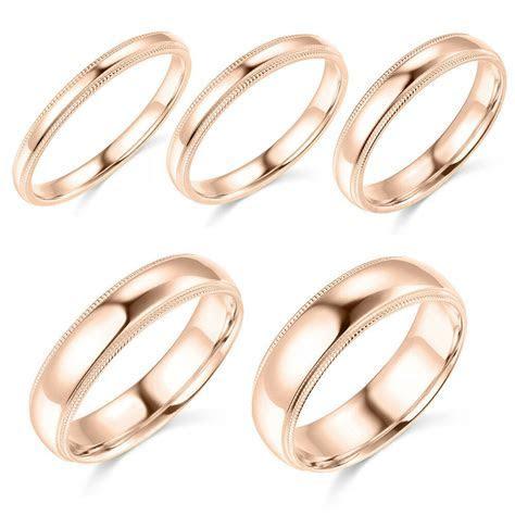 14K Rose Gold 2mm 3mm 4mm 5mm 6mm Comfort Fit Men Women
