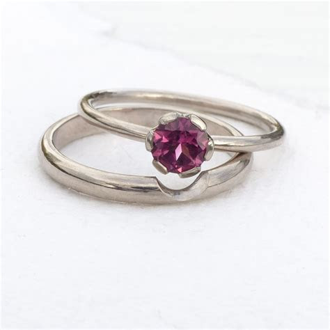 Pink Tourmaline Engagement Ring Set in 18ct Gold or