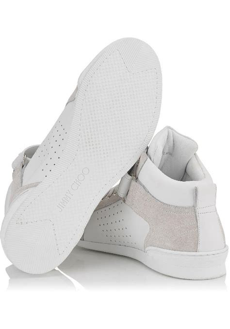 jimmy choo mens high sneakers  white calf leather italian boutique