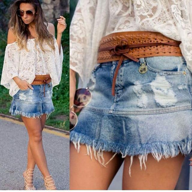 Resultado de imagem para saia jeans rasgado