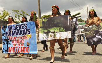 Ecuadorian Indians protest against oil extraction
