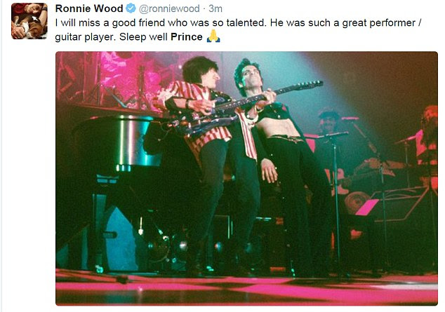 Rolling Stones guitarist Ronnie Wood said Prince was 'a good friend who was so talented.' He shared a photo of the two of them rocking on stage together and added: 'Sleep well Prince'