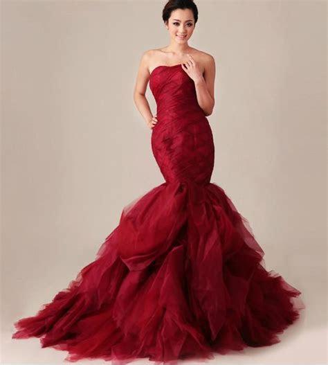 Strapless Ruffled Red Mermaid Wedding Dresses 2013 New