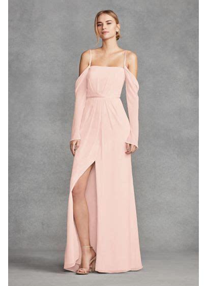 Long Sleeve Cold Shoulder Chiffon Bridesmaid Dress   David