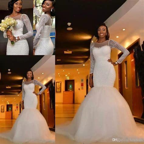 2017 African Nigeria Mermaid Wedding Dresses Jewel Neck