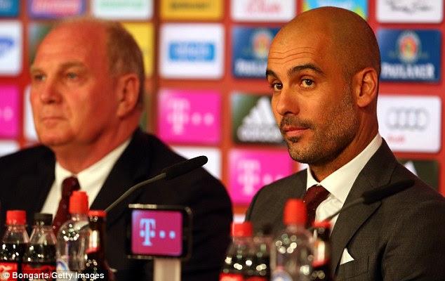 Pressure? Pep Guardiola has just taken over at European champions Bayern Munich