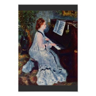 Woman At The Piano By Pierre-Auguste Renoir Posters