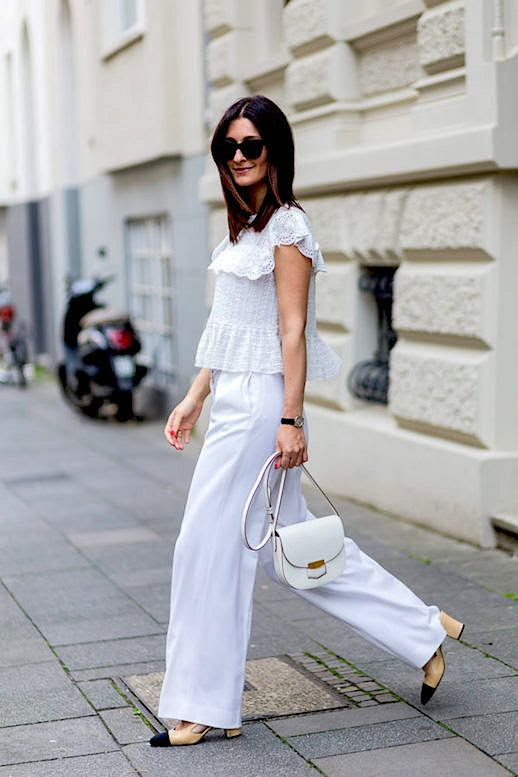 Le Fashion Blog White Feminine Top White Trousers Cap Toe Heels Via The Zoe Report