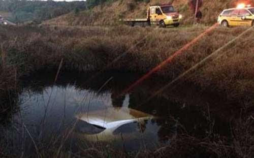 No Paraná, idosa morre após carro atropelar búfalos e cair em lagoa