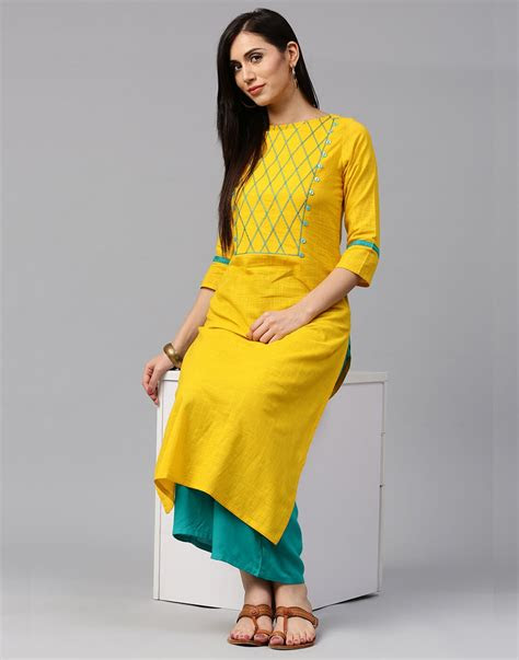 jaipur kurti cotton slub yellow color kurta  sea green