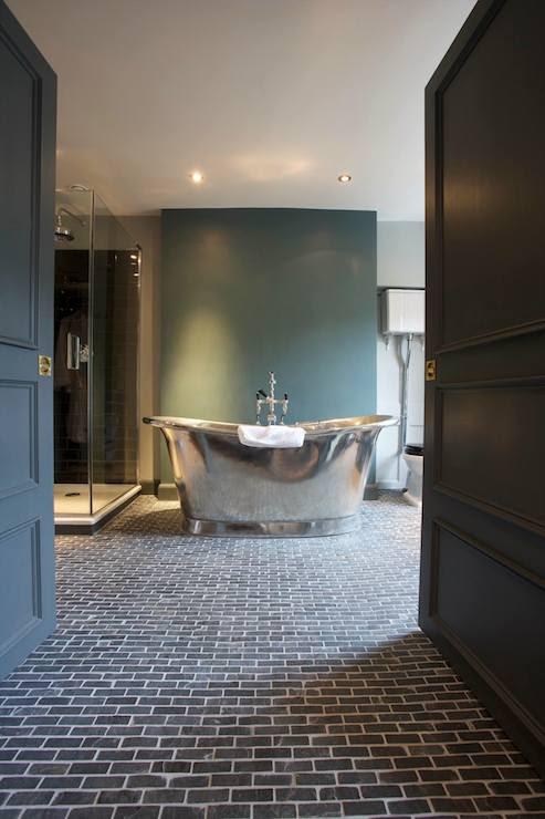 Black Brick Floor - Transitional - bathroom - The ...