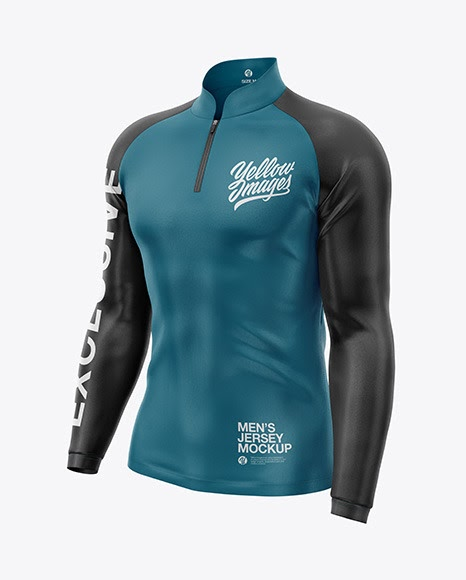 Download Mens Jersey With Long Sleeve Mockup Front Half Side View ...