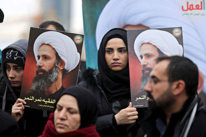 Protesters in Beirut display images of Sheikh Nimr al-Nimr, whose execution, by Saudi Arabia, set off violent protests across the Middle East.