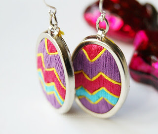 Earrings stitched by me