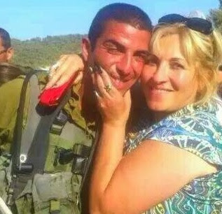 Anett Haskia, Israeli Arab activist for Israel, together with her son, a Golani soldier