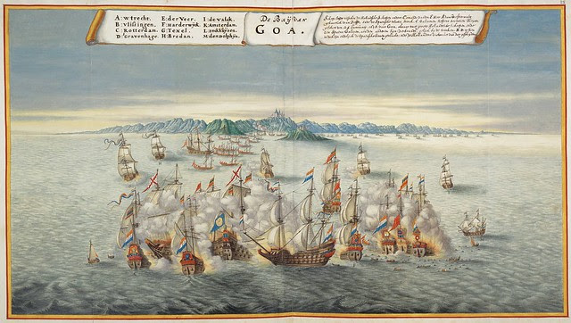 naval battle off coast of Goa, India - hand-painted 17th cent. engraving