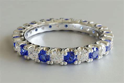 Custom Design Round Cut Sapphire and Diamond Eternity Ring