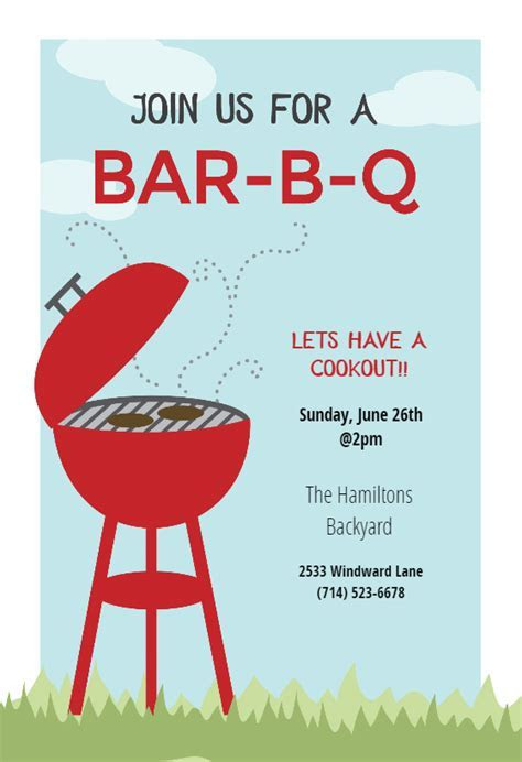 BBQ Cookout   BBQ Party Invitation Template (Free
