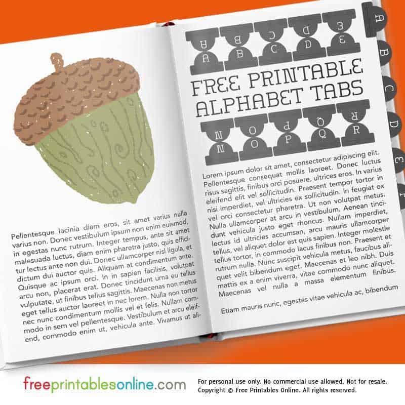Faircourse Black Printable Alphabet Tabs | Free Printables Online ...