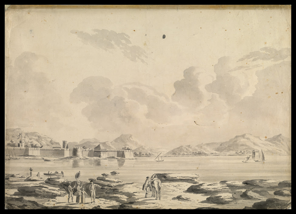 Thana Fort on the Island of Salsette seen from the mainland. European figures in the foreground