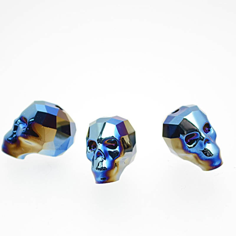 2775750s39219 Swarovski Bead - 13 mm Faceted Skull (5750) - Crystal Metallic Blue 2X (1)