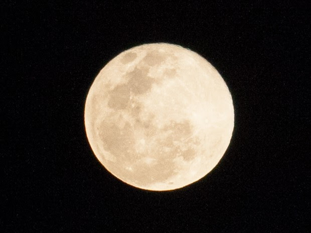 Fenômeno conhecido como Lua Azul é visto no céu de São Paulo na noite desta sexta-feira (31) (Foto: Fábio Tito/G1)